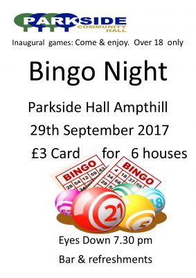 Bingo run by Parkside @ Parkside Community Hall | United Kingdom