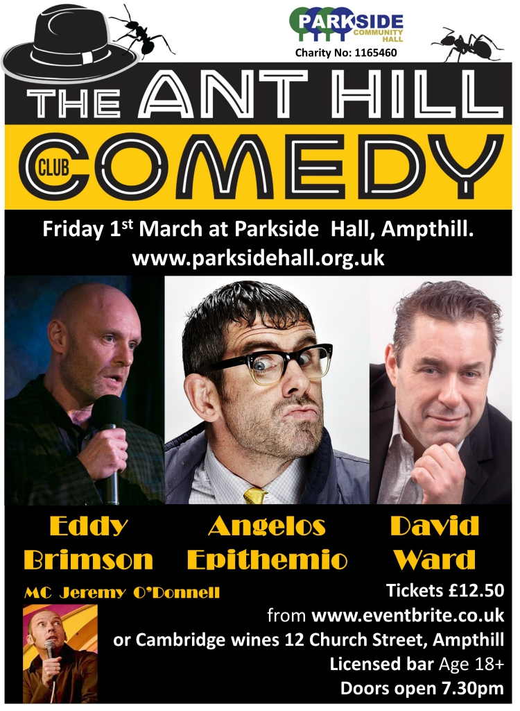 The ANT HILL Comedy Club @ Parkside Community Hall   Ampthill   England   United Kingdom
