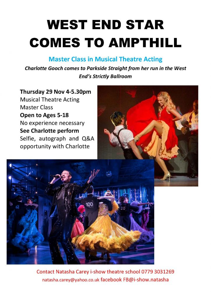Master Class in Musical Theatre Acting @ Parkside Community Hall | Ampthill | United Kingdom