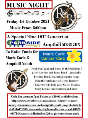 Music Night - A Special 'One Off' Concert - Rhythm and Blues Band @ Parkside Community Hall   Ampthill   United Kingdom